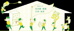 創業50年と回収対応エリア(名古屋・尾張・三河・知多)のご案内