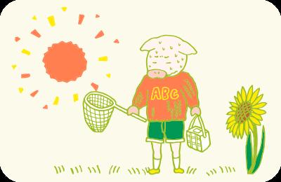真夏の炎天下、セーターを着て汗だくになりながら虫取りする子どものイラスト