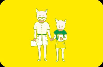 兄と一緒に貸本屋に行く、幼い頃のトン十郎のイラスト