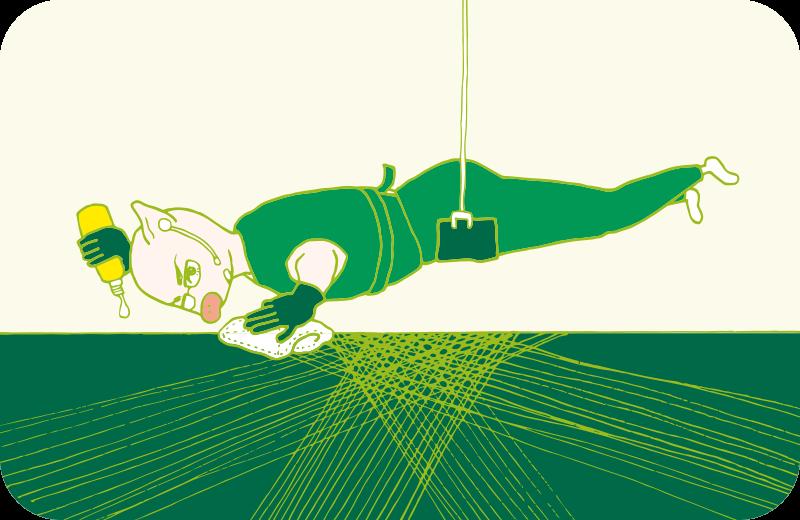 イーサン・ハントばりの黒づくめで天井から吊るされながら、床の雑巾がけをするトン太のイラスト