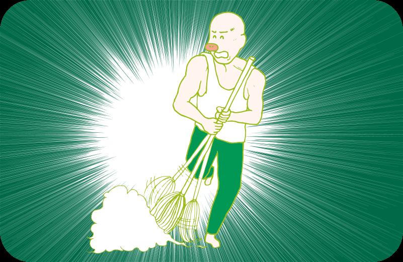 ジョン・マクレーン風のランニング姿で、ものすごい速さで掃き掃除するトン蔵のイラスト