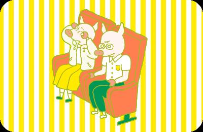 ブログ担当のトントンたちが、映画館でスクリーンに釘付けになっているところを描いたイラスト