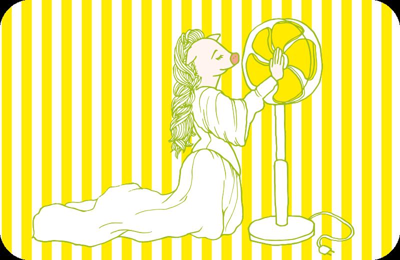扇風機に問いかけるジュリエットのイラスト