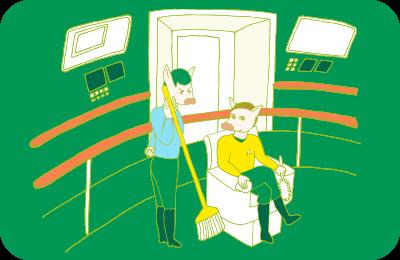 エンタープライズの操縦室で、掃除道具を手にしているカークとスポックのイラスト