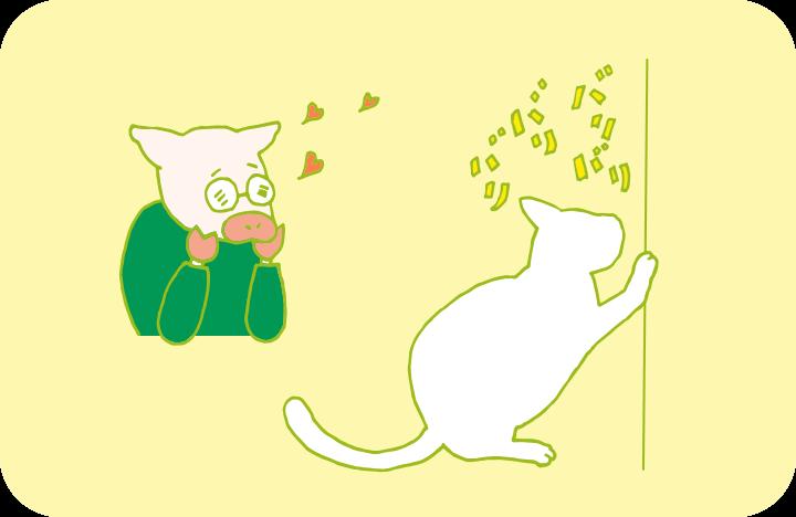 爪研ぎする猫をうっとりした表情で見つめるトン十郎のイラスト