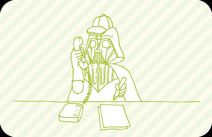 お問い合わせの電話に対応するベイダー卿のイラスト