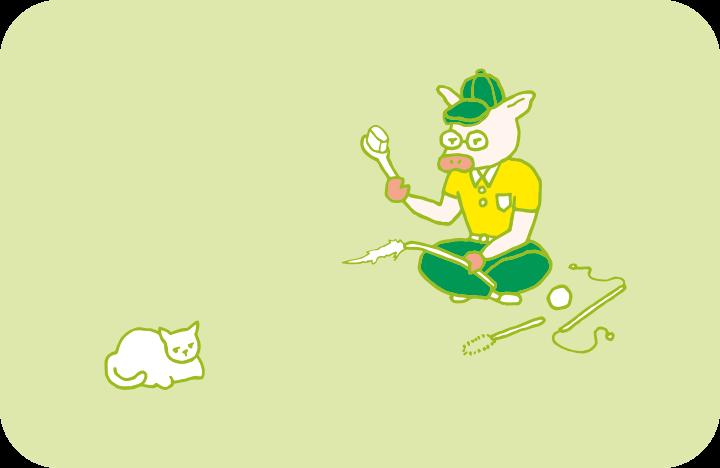 大量の猫おもちゃに囲まれるトン十郎と、トン十郎に一切関心のない猫のイラスト