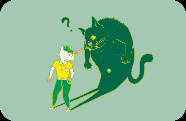 片づけの魔物がバケ猫だったら、ちょっと嬉しいトン十郎のイラスト
