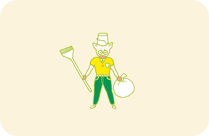 バケツを被り、ホウキとゴミ袋で武装した、ありあわせの「片付け勇者」のイラスト