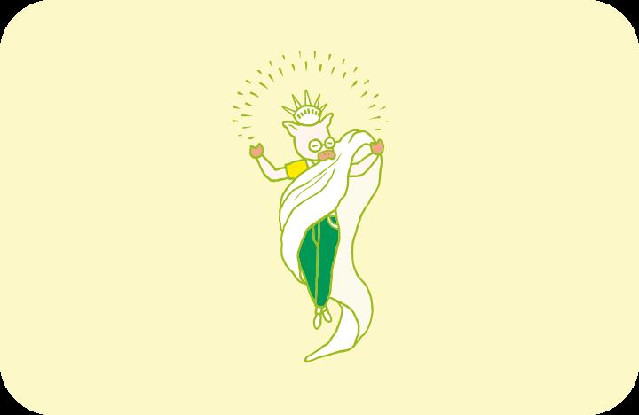 もはや「片付けなくちゃ」という概念からは解脱したようにさえ見える「片付けの神」のイラスト