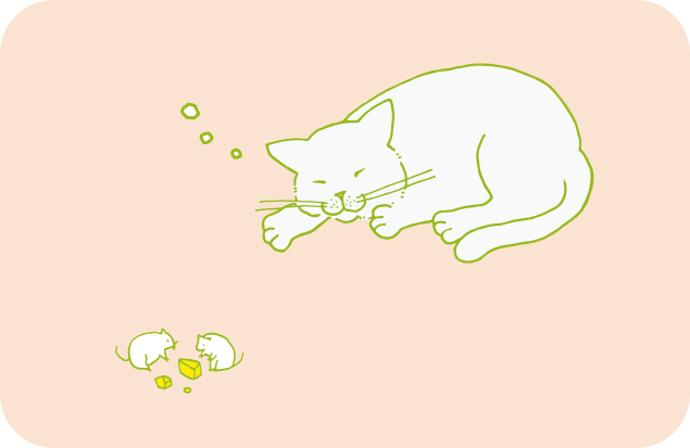 ネズミをまったく気にしない、灰色熊のような猫のイラスト