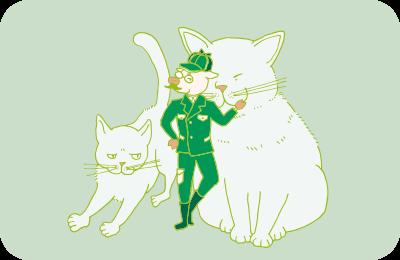 灰色熊のような二匹の猫と、猟師姿の宮沢トン治のイラスト