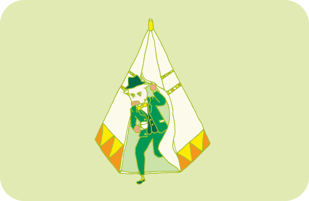 オシャレなスリーピースのスーツ姿で優雅にテントから出てくるヨーロッパ人のイラスト