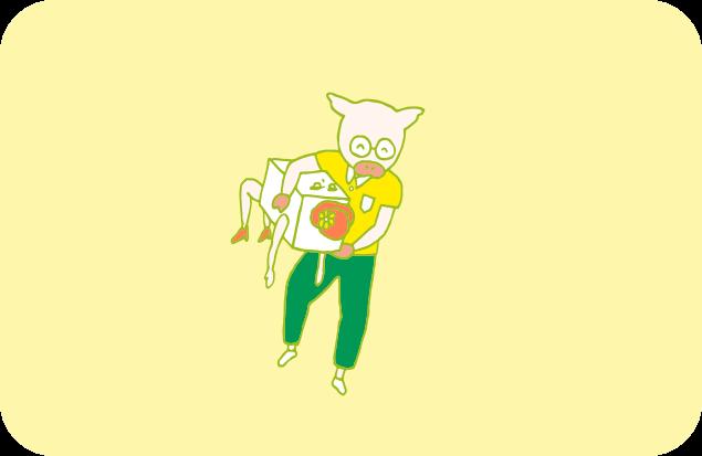 チェストちゃんを小脇に抱え、ルンルン気分で帰宅するトン十郎のイラスト
