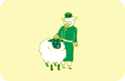 遊牧民と羊のイラスト
