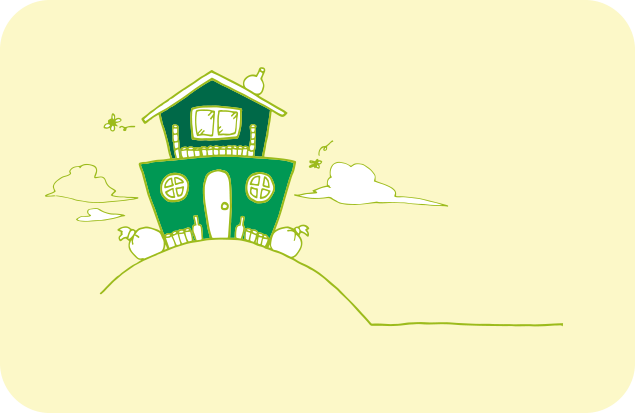 丘の上に建っているゴミ屋敷のイラスト