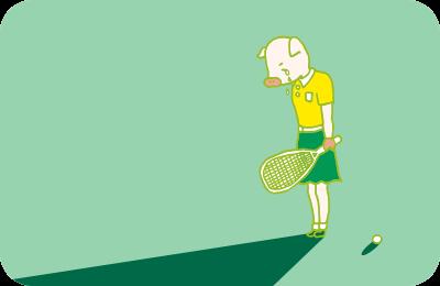 スカッシュのラケットを持って、うなだれて涙を流すかよトンのイラスト