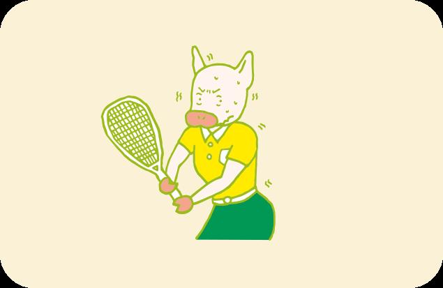 真剣な表情でラケットを構えるものの、どこかぎこちない、かよトンのイラスト