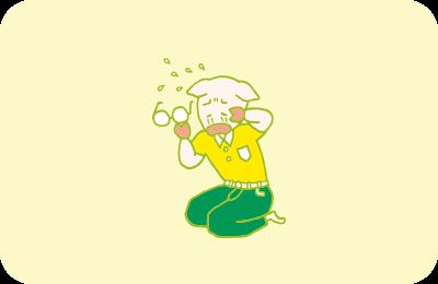 ブログのネタが見つかって嬉し泣きするトン十郎のイラスト