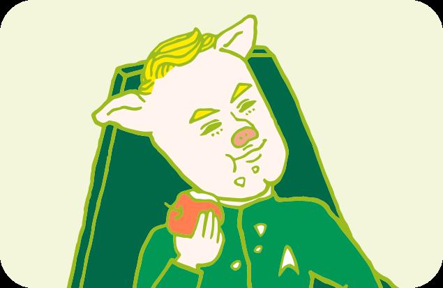 自信満々で、嬉しそうにリンゴを食べこぼしまくるカーク船長のイラスト