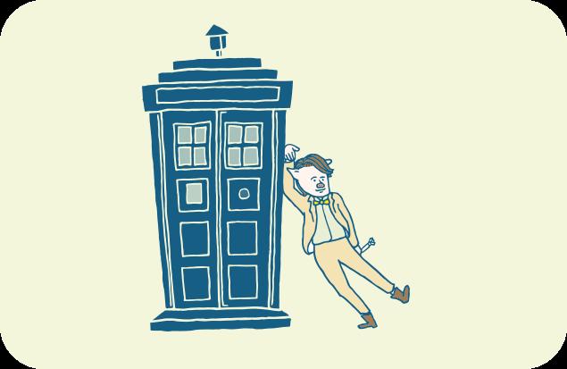 「ターディス」と11代目ドクターのイラスト