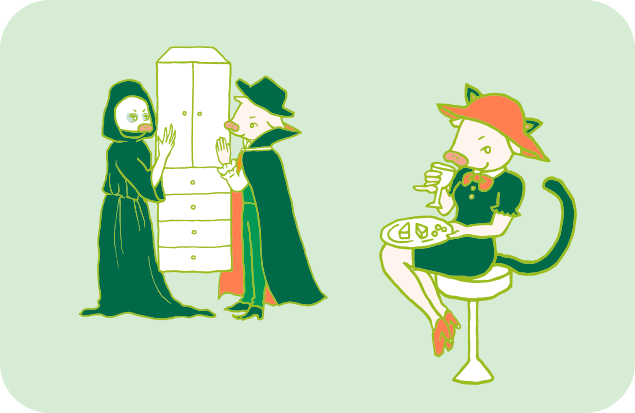 ハロウィン用のかわいいネコの衣装を着て、ゆったりくつろぐトン子と、その後ろで片付けをするトン之丞とトン太