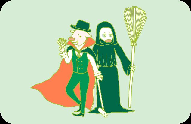 ハロウィンをバッチリ演出する、吸血鬼の衣装を着たトン之丞と、死神の衣装を着たトン太