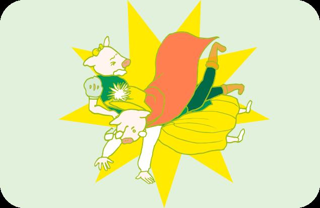 片づけ姫のお腹の上に思い切り倒れこむ整頓王子のイラスト