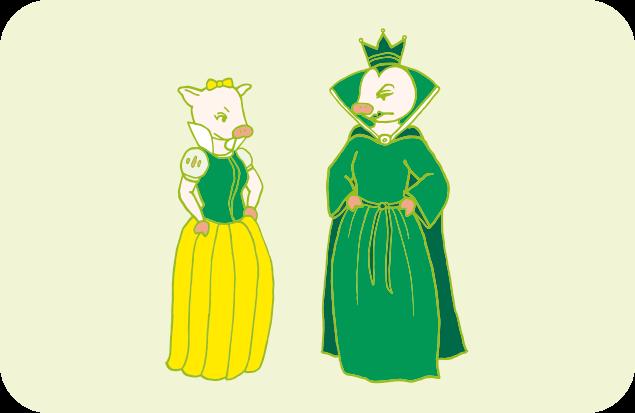 あまり仲が良くなさそうな、整理王妃と片づけ姫のイラスト