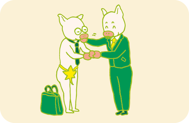 葉っぱ一枚の姿で、大口のクライアントと契約を結ぶAさんのイラスト