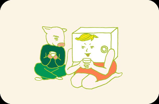 仲睦まじく暖かいスープを飲む、金庫ちゃんとトン太のイラスト