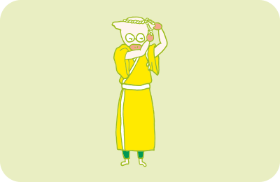 ねじりハチマキをして、片付けの準備万端なトン十郎のイラスト