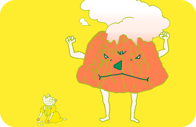 今にも噴火しそうなかよトンと、怯えるトン十郎のイラスト