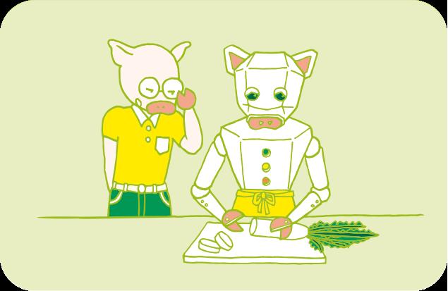テキパキと料理するロボットと、それを見ているトン十郎のイラスト