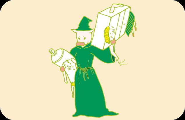 魔女姿のトン子に、軽々持ち上げられるヘンデルとグレテルのイラスト