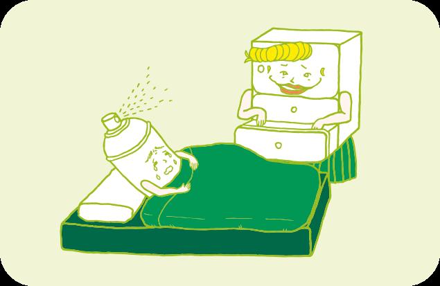 ベッドの中のヘンデルに、引き出しの中身を見せようとしている、悪い顔のグレテルのイラスト