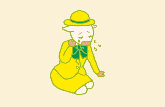 泣いているバスガイドさんのイラスト