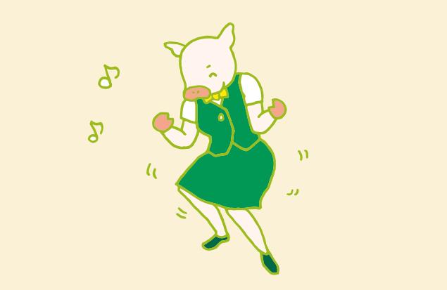 大好きな音楽を聴いてルンルン気分で踊る、かよトンのイラスト
