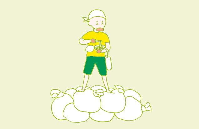 ゴミの山の上でカップラーメンを食べる、ゴミ屋敷の皇帝(?)のイラスト