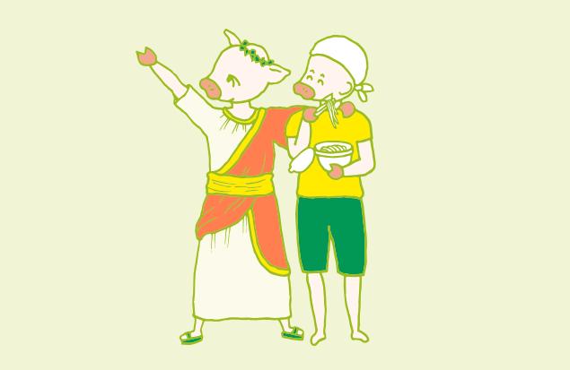 肩を組む二人の皇帝のイラスト