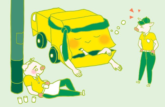 寝ている不用品回収車を見て呆れた様子の、運転手のトン吉のイラスト