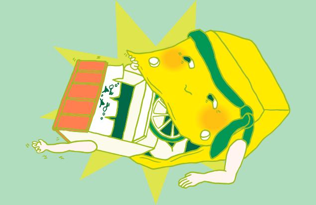 大きな口で屋台を一飲みする不用品回収車のイラスト
