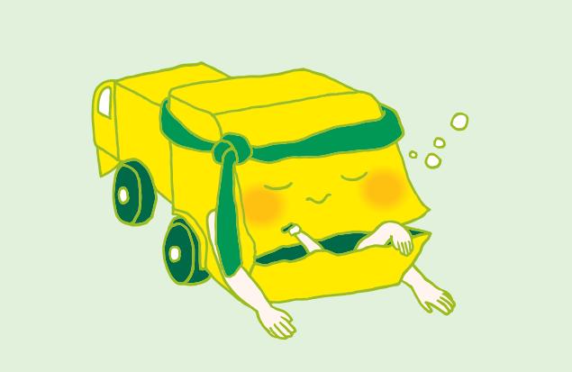 お腹がいっぱいで、眠ってしまう不用品回収車のイラスト