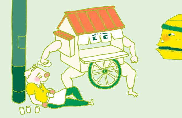 おやじさんと屋台の隙をうかがう、不用品回収車のイラスト