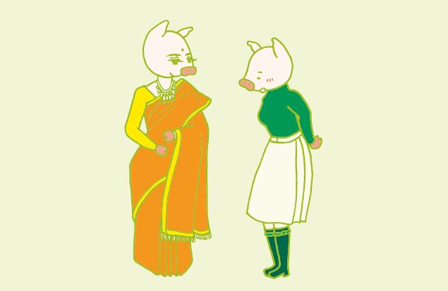 インド美人の着ているサリーに惚れ惚れする、かよトンのイラスト