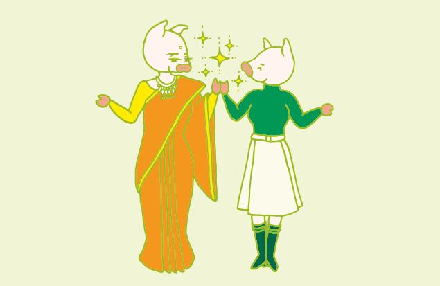 インドの女性と手を繋ぐ、かよトンのイラスト