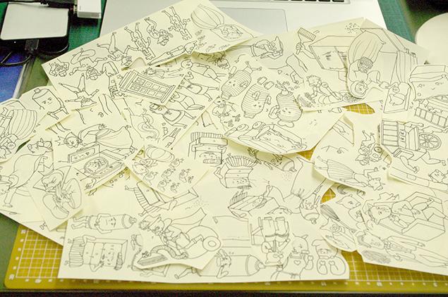 大量の手書きイラストの写真