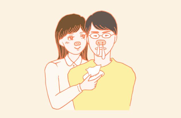 慢性鼻炎の彼氏にゾッコンな彼女のイラスト