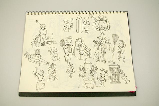 クロッキー帳に描いた下絵の写真
