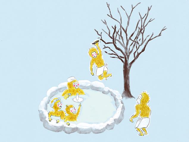 はしゃぎすぎて木から落ちていく猿と、それを見てビックリしている、温泉に浸かっている猿たち